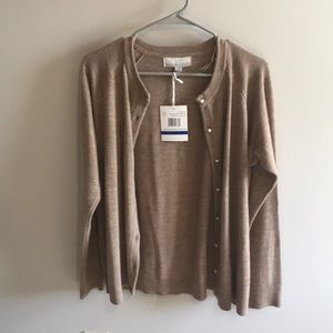 """Tan Cardigan with """"Pearl"""" Button's"""